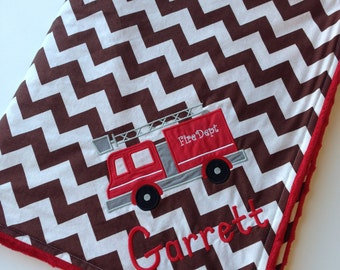 Personalized Baby Blanket- Fire Truck Blanket- Minky Baby Blanket- Chevron Blanket- Chevron Baby Bedding