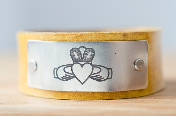 Claddagh Ring Cuff - Love, Loyalty, and Friendship Custom Leather Cuff -  Love Always