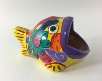 Vintage Signed Tonala Mexican Pottery Fish Figurine Folk Art - Yellow