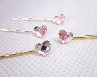 Heart Hair Pin -- Pink Crystal Hair Pin -- Swarovski Hair Pin -- Sparkling Bobby Pin -- Pink Hair Pin -- Heart Hair Accessory --Heart Pin