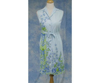 Vintage 60s Serbin of Florida Oriental Novelty Print Sleeveless Shift Dress, Sz Med 8 10