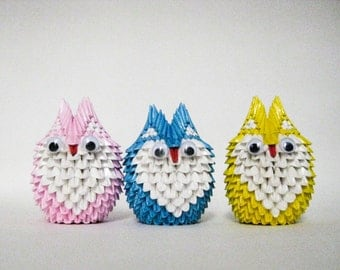 3D Origami Trio of Small Owls