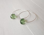 Minimal silver hoops green bead earrings large hoop earrings women's silver earrings