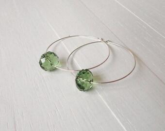 Silver hoop earrings green bead earrings large hoop earrings womens silver earrings minimalist earrings
