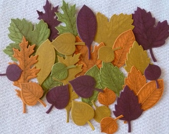 DIY Colorful Leaves Fall Kit, Stamped and Die Cut + Freebies, maple, oak, etc., Stampin' Up! Card stock, hand made, paper crafts