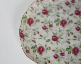 vintage lefton rose chintz snack plate