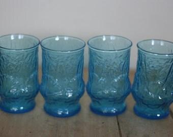 vintage anchor hocking rainflower juice glasses blue daisy glasses