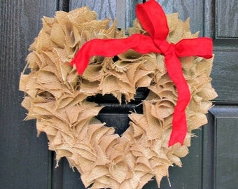 ON SALE Burlap Heart Wreath with Red Bow - Rustic Cottage Chic Christmas Valentine's Day Holiday Home Decor