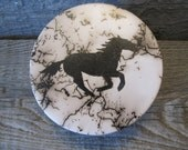 Horse Hair Pottery Trinket Box, flat top  - Made in Wyoming