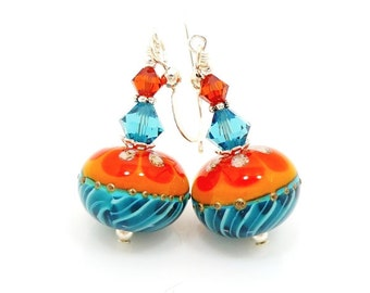 Turquoise Blue and Orange Earrings, Lampwork Earrings, Glass Earrings, Beadwork Earrings, Southwestern Earrings, Southwest Jewelry
