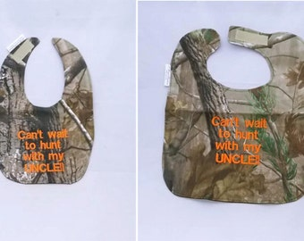 Can't Wait to Hunt With My Uncle - Small OR Large Baby Bib - orange lettering
