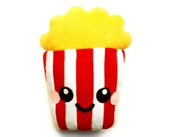 Popcorn Plush Cushion, fun popcorn plushie, happy popcorn cushion, cute home decor, food plush cushion, soft toy, kids room, fleece cushion