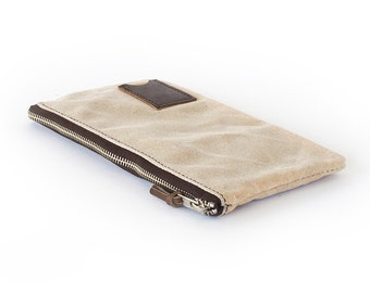 NO. 239 Personalized Zipper Pouch, Natural Ivory Waxed Canvas and Horween Leather, Travel Passport Pouch, Made in USA