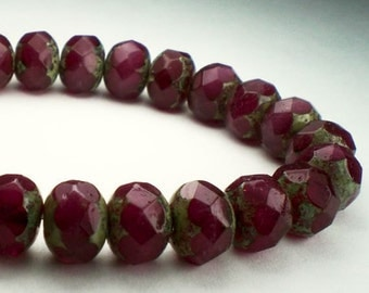 Picasso Czech Glass Beads 8mm Faceted Rondelle Burgundy Red with Lt. Green Finish 10 pcs. RON8-694