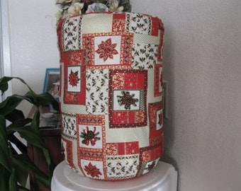 Red Flower Water Cooler Cover for 5 Gallon - Happy Holiday Red and Green