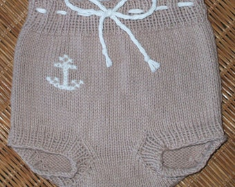 Hand knit diaper covers or pants in tan 100 percent Cotton