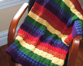 Rainbow blanket for baby or toddler in 100% Acrylic