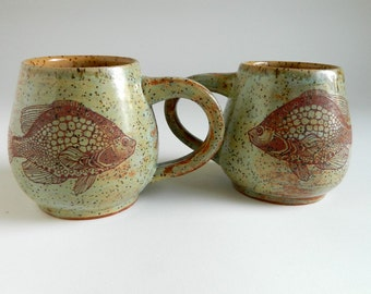 Pair of Speckled Green Fish Mugs - 12 oz, coffee, tea, sage green