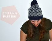 Instant Download Knitting Pattern  Womens Hat Pattern Fair Isle Hat Pattern  Pom Pom Hat Pattern  Knit Pompom Hat Pattern Womens Accessories