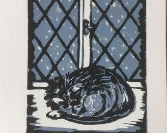 Cat and Snow (linocut)