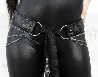 SPIKED BLACK BROCADE skinny handmade tie front hip belt with draping chains