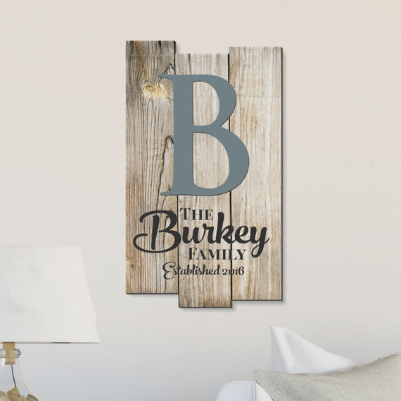 Personalized Rustic Pallet Wood Sign Family Name Sign Established With Monogram 11x18