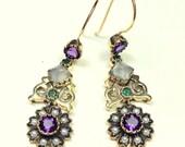 Solid 9k Gold, Amethyst, Emerald, Moonstone, Seed Pearl, British Victorian, Drop Earrings, Art Nouveau, Gold Filigree, Dangle Earrings