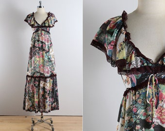 Vintage 70s dress | 1970s Arjon dress | floral cotton maxi dress medium | 5126