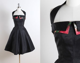 Vintage 50s Dress | vintage 1950s dress | black halter party dress xs/s