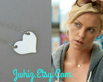 Charlize Theron Sterling Silver Heart Necklace, OR 14K Gold Fill, Celbrity Jewerly, Centered Heart, Heart Of Gold