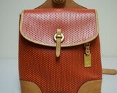 DOONEY and BOURKE Red & Saddle Brown Cabriolet Perforated Leather Backpack Purse