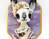 Ooak Spun Cotton, Anthropomorphic Bunny, Sweet, Spring Art, Wall Decor, Faux Taxidermy, Lilac, and Antique Lace