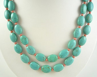 Turquoise Coral Necklace Long Turquoise Peach Coral Necklace Long Salmon Coral Turquoise Strand Long Turquoise Necklace Turquoise Beaded