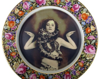 The Snake Lady - Circus Freak Series  - Altered Vintage Plate 10.25""