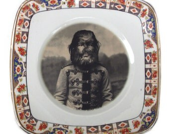 """JoJo The Dog Faced Boy - Altered Antique Plate 8.5"""""""