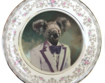 Kevin the Koala Portrait - Altered Vintage Plate 6.4""