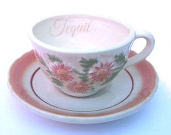 Sale - Imperfect - Tequila Altered Vintage Teacup and Saucer