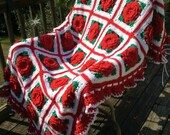 Red Roses and Ruffles Crocheted Afghan - Peppermint Red - 35 squares - Ready to Ship