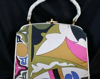 Fabulous Emilio Pucci Top Handle Handbag Vinyl Accents Signed