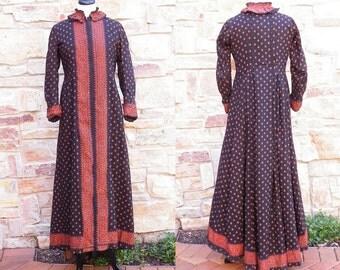 Victorian Coat Dress, Antique Calico Dress, Black and Orange Cotton Paisley Print Walking Coat, Steampunk Halloween Dress