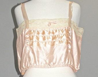 1920s Pink Satin Lace Trim Corset Cover, Vintage 20s Camisole Flapper Lingerie, 39 Bust