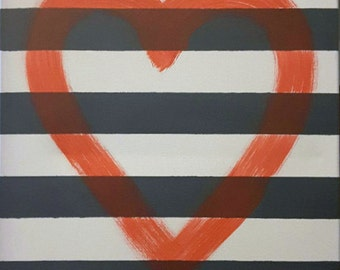 Black & White Striped Heart Canvas