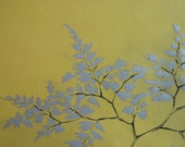 Mid-century yellow cotton fabric printed with with butterflies and metallic leaves - one yard