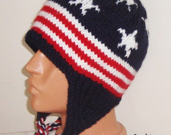 American Mens Hats Knit with Ear Flaps, Winter Hats, Ski Hats, American Gift for Men, Gift For him, hand knit hat, red white blue
