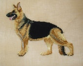 German Shepherd Portrait, Fiber Art, Preworked Needlepoint Canvas