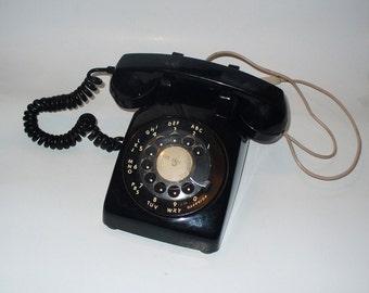 Black Rotary Phone, Vintage Desk Top Telephone