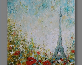 Paris Painting Acrylic Abstract Painting Flowers Painting Original Acrylic Painting Landscape Painting Christmas Gift  Painting by Mirjana