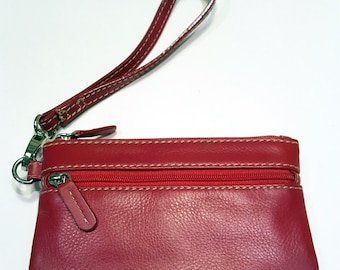 Genuine Leather, Soft,  Three Zipper Wristlet or Wallet, RARE