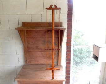 """Mid Century Russian 3 Level Wood Burned 45-5/8"""" tall Wall Mount Plate Rack"""