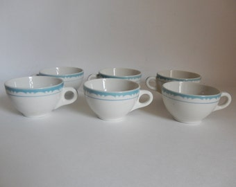 Set of 6 Mid Century Blue & White Syracuse China Restaurant / Diner Coffee Cups / Teacups 7-CC - Holds 8 oz.